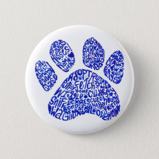Paw Print in Blue Text - Thoughts about Dogs 2 Inch Round Button