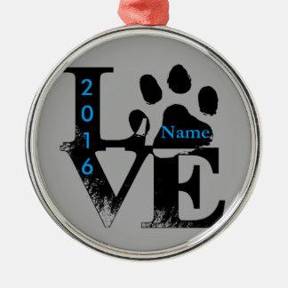 Paw Print in LOVE Metal Ornament