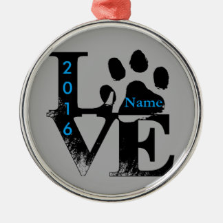 Paw Print in LOVE Silver-Colored Round Ornament