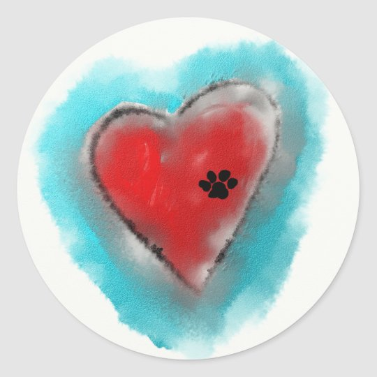 Paw Print left on a Heart Classic Round Sticker