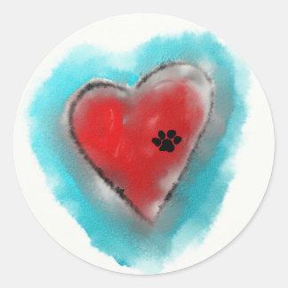 Paw Print left on a Heart Round Sticker