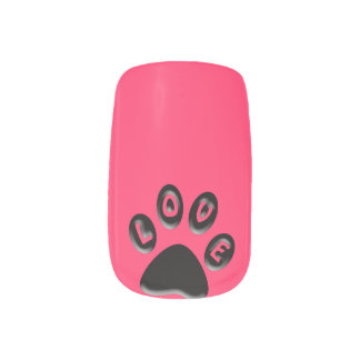 Paw Print, love, 3D custom colour Minx Nail Art