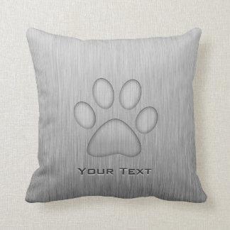 Paw Print; Metal-look Throw Pillow