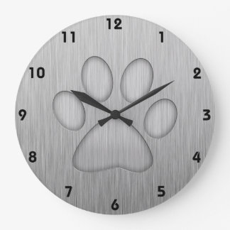 Paw Print; Metal-look Wall Clock