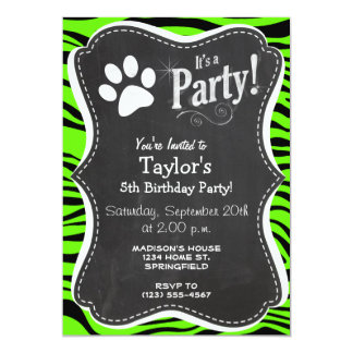 "Paw Print on Bright Neon Green Zebra Stripes 5"" X 7"" Invitation Card"