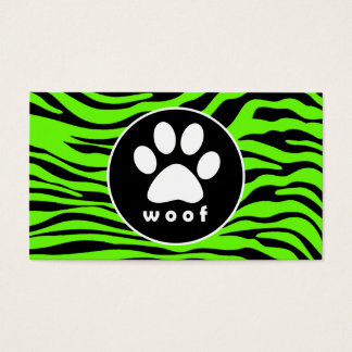 Paw Print on Bright Neon Green Zebra Stripes Business Card