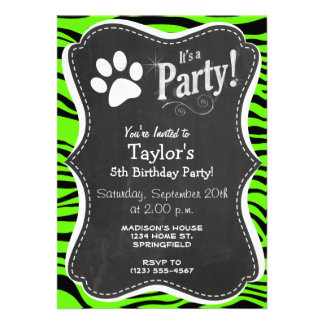 Paw Print on Bright Neon Green Zebra Stripes Custom Invites