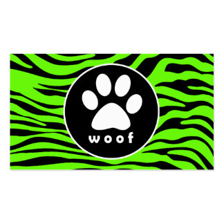 Paw Print on Bright Neon Green Zebra Stripes Pack Of Standard Business Cards