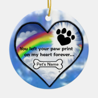 Paw Print On My Heart Ceramic Ornament