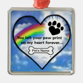 Paw Print On My Heart Silver-Colored Square Ornament