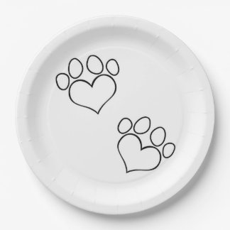 Paw Print Paper Plates 9 Inch Paper Plate