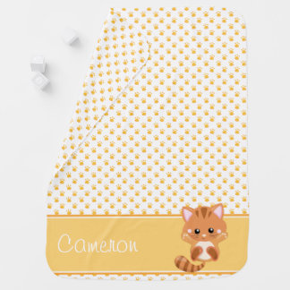 Paw Print Pattern with Cat | Personalized Swaddle Blankets