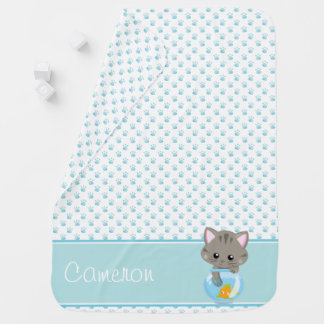 Paw Print Pattern with Grey Cat | Personalized Baby Blanket