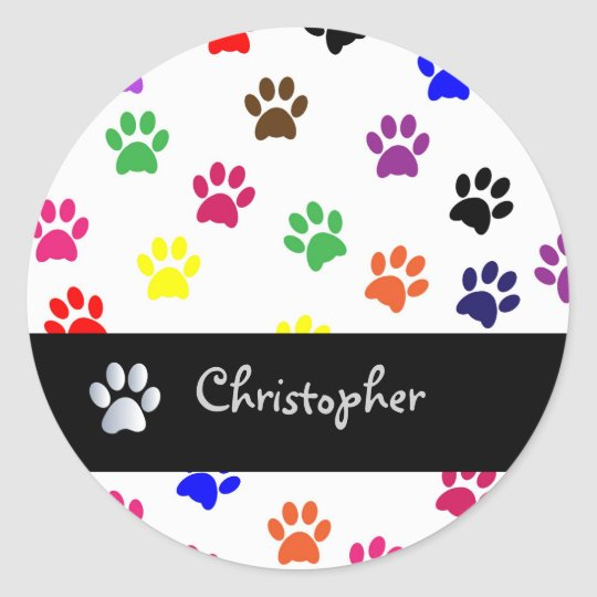 Paw print pet dog custom boys name stickers
