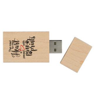 Paw Print Pet Heart USB Drive Wood USB 2.0 Flash Drive