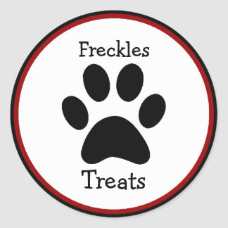 Paw Print Pet Treats Labels Round Sticker