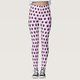 Paw Print Pink Athleisure Yoga Pants Leggings