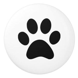 Paw Print - puppy dog cat or other pet animal Ceramic Knob