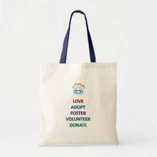 Paw Print Rescue Dog Tote, Love Adopt Foster Tote Bag