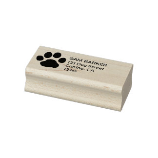 Paw Print Return Address Rubber Stamp