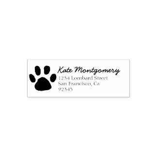 Paw Print Return Address Self Inking Rubber Stamp