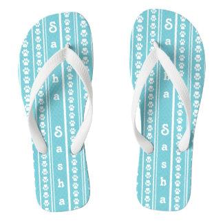 Paw Print Stripe and Name Flip-Flops Flip Flops