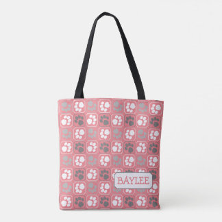Paw Print Tile Pattern Pink with Name Tote Bag