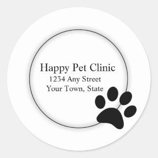 Paw Print Veterinarian Pet Service Round Sticker
