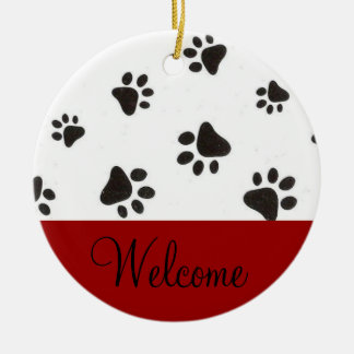 Paw Print Welcome Door Sign Ceramic Ornament