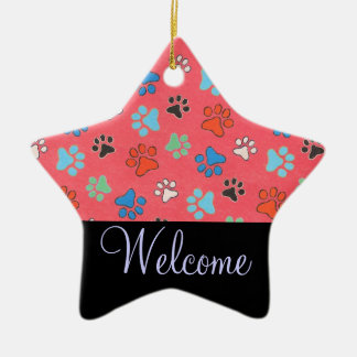 Paw Print Welcome Door Sign Ceramic Star Ornament