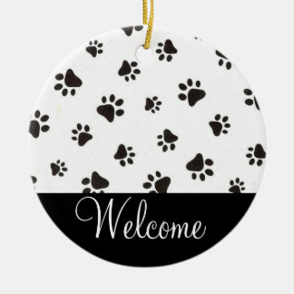 Paw Print Welcome Door Sign Round Ceramic Ornament