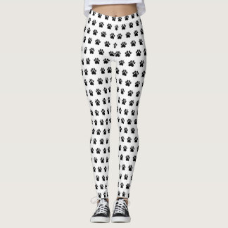 Paw Print White Athleisure Yoga Pants Leggings