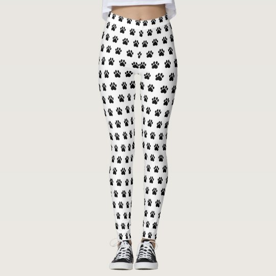 Paw Print White Athleisure Yoga Pants Leggings