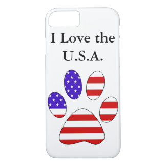 Paw Print with the American Flag iPhone 7 Case