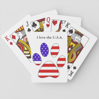 Paw Print with the American Flag Poker Deck
