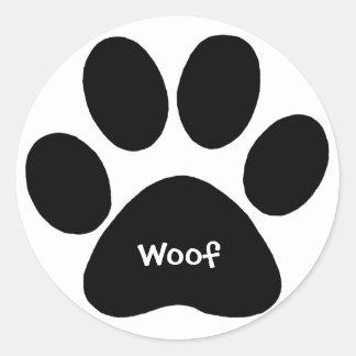 paw print woof round sticker