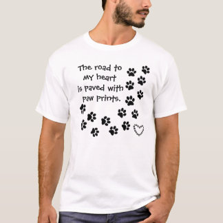 paw prints and heart T-Shirt