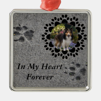 Paw Prints and Photo Metal Ornament