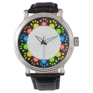 Paw Prints Black Leather Strap Wristwatch