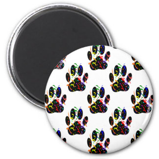 Paw Prints Confetti And Party Streamer Pattern 2 Inch Round Magnet