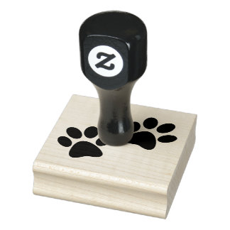 Paw Prints Design Wooden Stamp