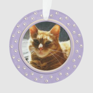 Paw Prints Dog or Cat Tribute Photo Ornament