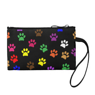 Paw prints dog pet fun colorful cute pawprints coin purse