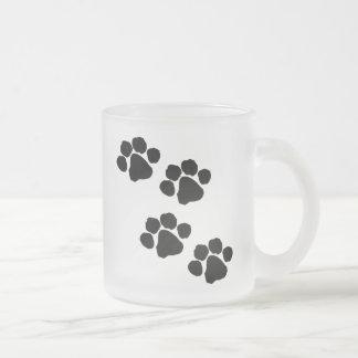 Paw Prints Frosted Glass Coffee Mug