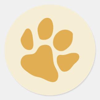 Paw Prints Gold Classic Round Sticker