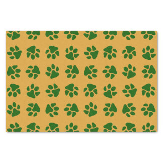 Paw Prints Green Tissue Paper