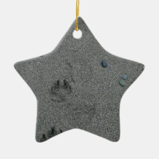 Paw Prints in the Sand Ceramic Ornament