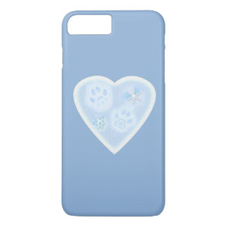 Paw Prints inside Heart in Snow iPhone 7 Plus Case