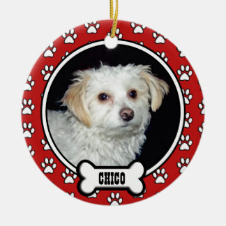 Paw Prints Memorial Red Pet Photo Ornament