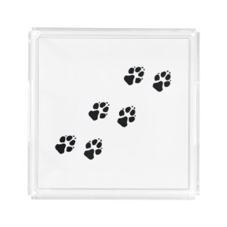 Paw prints of a dog acrylic tray
